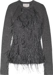Jason Wu , Feather Embellished Tulle And Ribbed Wool Blend Sweater Dark Gray