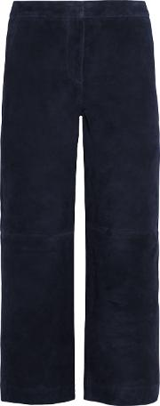 Jcrew , J.crew Collection Cropped Suede Wide Leg Pants Navy
