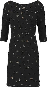 Jenny Packham , Beaded Crepe Mini Dress Black