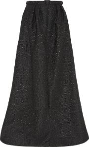 Jenny Packham , Embroidered Metallic Gabardine Maxi Skirt Black