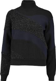 Jil Sander , Paneled Textured Lame And Ribbed Wool Blend Turtleneck Sweater Multi