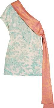 Jonathan Saunders , Dina One Shoulder Embroidered Printed Silk Twill Top Light Green