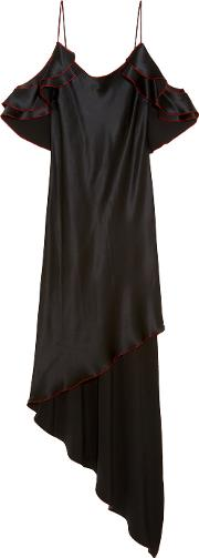 Juan Carlos Obando , Asymmetric Ruffled Silk Satin Midi Dress Black
