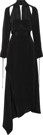 Juan Carlos Obando , Cecilia Asymmetric Cutout Silk Crepe Maxi Dress Black