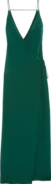 Juan Carlos Obando , Essex Silk Wrap Gown Emerald