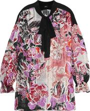 Just Cavalli , Pussy Bow Floral Print Cotton And Silk Blend Chiffon Blouse Multi