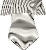 Kain , Alessandra Off The Shoulder Striped Ribbed Jersey Bodysuit Black