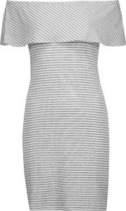 Kain , Carys Off The Shoulder Ribbed Striped Stretch Knit Mini Dress Gray