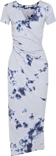 Kain , Jacquetta Wrap Effect Tie Dyed Cotton And Modal Blend Midi Dress Blue