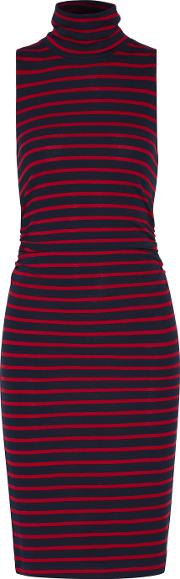 Kain , Ray Ruched Striped Stretch Jersey Turtleneck Dress Red