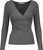 Kain , Rose Wrap Effect Stretch Modal Jersey Top Gray