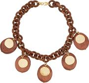 Kenneth Jay Lane , Faux Wood And Gold Plated Necklace Brown