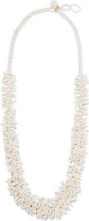 Kenneth Jay Lane , Gold Plated Beaded Necklace Ivory