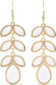 Kenneth Jay Lane , Gold Plated Stone Earrings White