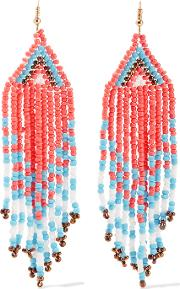 Kenneth Jay Lane , Gold Tone Beaded Earrings Multi