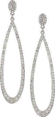 Kenneth Jay Lane , Rhodium Plated Crystal Earrings Silver