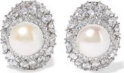 Kenneth Jay Lane , Silver Tone, Crystal And Faux Pearl Earrings One Size