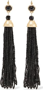 Kenneth Jay Lane , Tasseled Gold Tone Beaded Clip Earrings Black