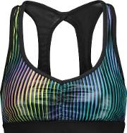 Koral , Power Play Mesh Paneled Striped Stretch Jersey Sports Bra Multi