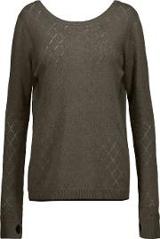 Lagence , L'agence Agustina Open Knit Trimmed Stretch Knit Sweater Brown