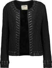 Lagence , L'agence Devereaux Faux Leather Whipstitch Trimmed Boucle Jacket Black