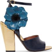 Laurence Dacade , Magic Appliqued Leather Sandals Blue