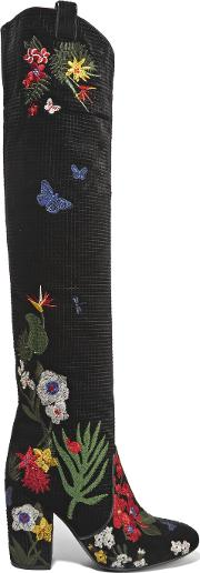 Laurence Dacade , Silas Embroidered Velvet Boots Black