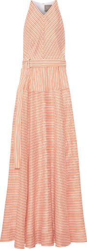 Lela Rose , Striped Cotton, Linen And Silk Blend Gown Pastel Orange