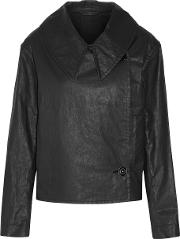 Lemaire , Double Breasted Coated Cotton Blend Twill Jacket Anthracite