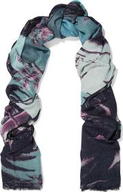 Lily And Lionel , Beverly Hills Slim Aarons Printed Modal And Cashmere Blend Scarf Blue