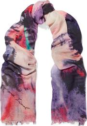 Lily And Lionel , Kate Printed Modal And Silk Blend Scarf Purple