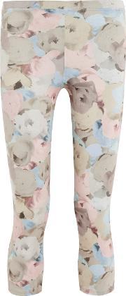 Live The Process , Floral Print Stretch Supplex&reg Leggings Taupe