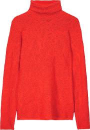 M Missoni , Stretch Knit Jacquard Turtleneck Sweater Tomato Red