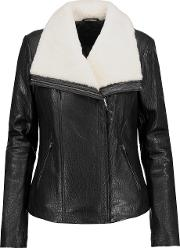 Mackage , Shearling Trimmed Textured Leather Jacket Black