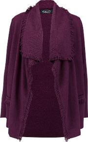 Magaschoni , Fringed Cashmere Cardigan Purple