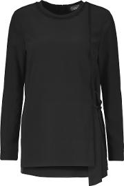 Magaschoni , Fringed Washed Silk Blouse Black