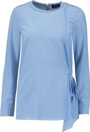 Magaschoni , Fringed Washed Silk Blouse Light Blue