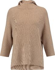 Magaschoni , Ribbed Wool Blend Hooded Sweater Brown