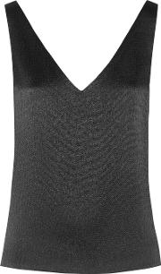 Maiyet , Open Back Textured Silk Top Black