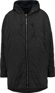 Maje , Quilted Shell Hooded Coat Black