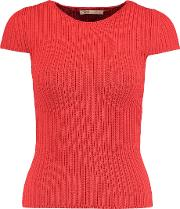 Maje , Ribbed Knit Top Tomato Red