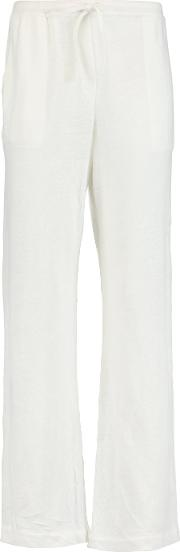 Majestic , Linen Blend Track Pants White