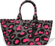 Marc By Marc Jacobs , Leopard Print Cotton Canvas Tote Anthracite