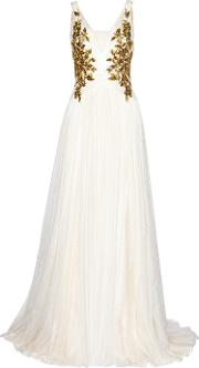 Marchesa , Embellished Tulle Gown White