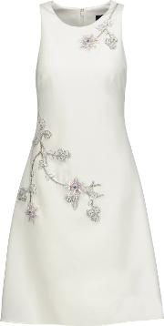 Marchesa Notte , Embellished Crepe Dress Ivory