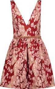 Marchesa Notte , Embellished Metallic Leopard Print Brocade Mini Dress Red