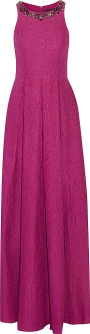 Marchesa Notte , Embellished Silk Blend Cloque Gown Magenta
