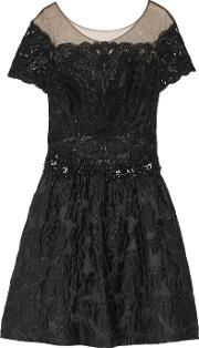 Marchesa Notte , Embellished Tulle And Cloque Mini Dress Black