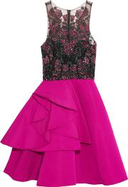 Marchesa Notte , Embellished Tulle And Satin Mini Dress Fuchsia