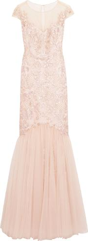 Marchesa Notte , Embroidered Embellished Tulle Gown Blush